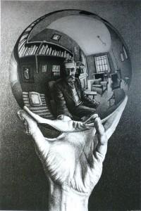 Escher, Nature morte dans une sphère