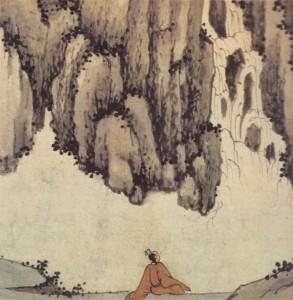 Shen Zhou, En écoutant la cascade (détail)